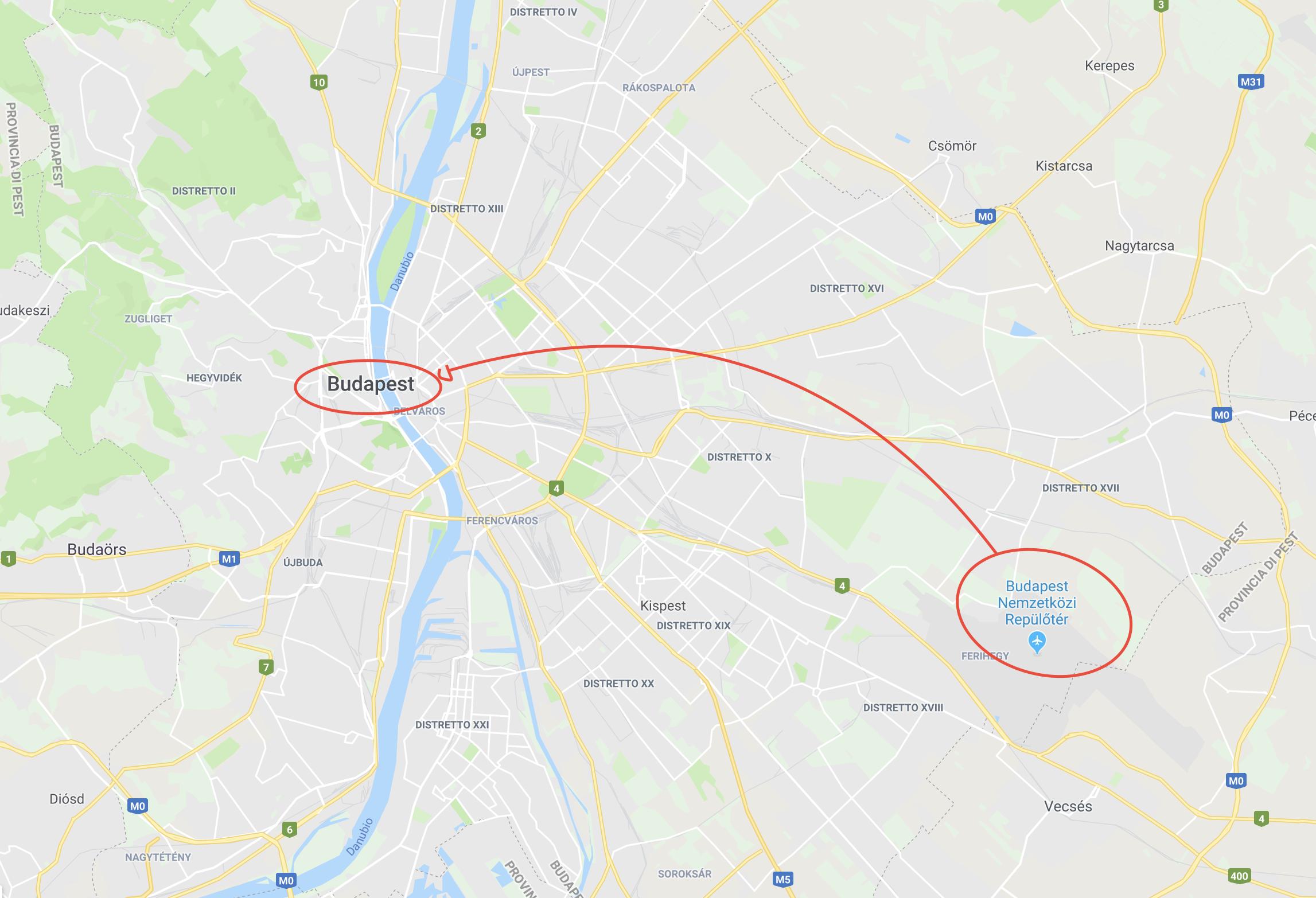Da budapest aeroporto al centro città