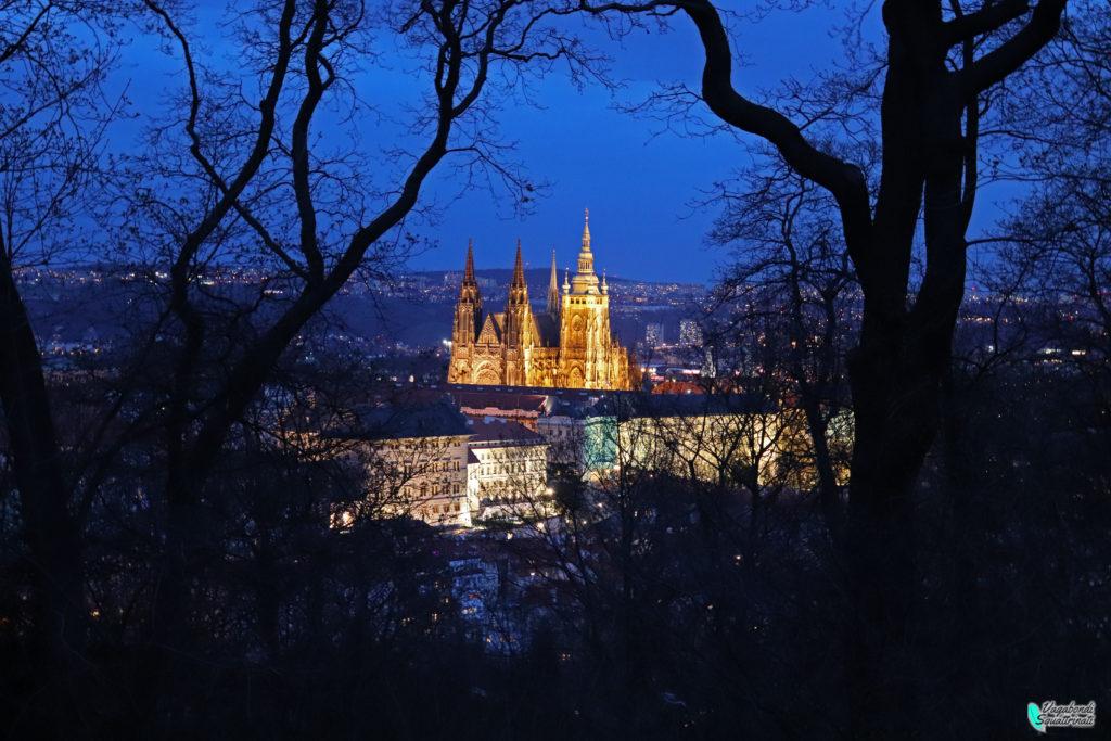 Vista notturna del Castello di Praga dalla collina di petrin